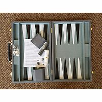 "BG- 15"" Grey Vinyl Attache Backgammon"